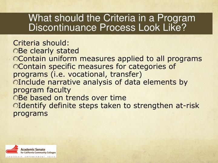 What should the Criteria in a Program Discontinuance Process Look Like?