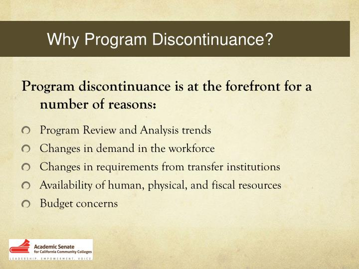 Why Program Discontinuance?