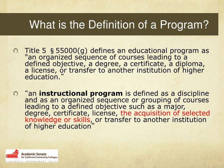 What is the Definition of a Program?