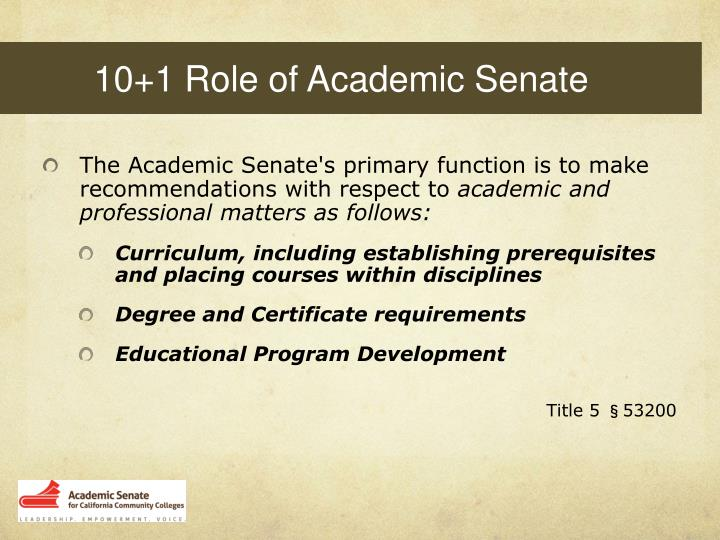 10+1 Role of Academic Senate