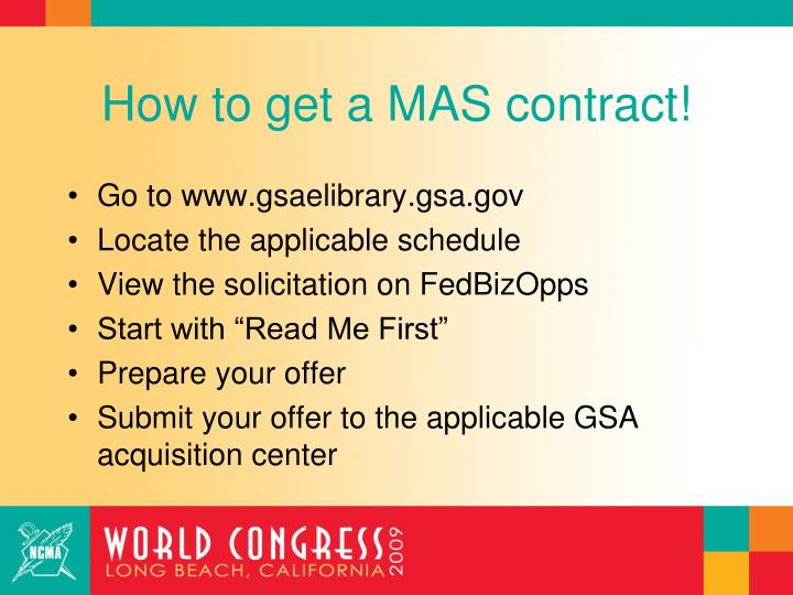 How to get a MAS contract!