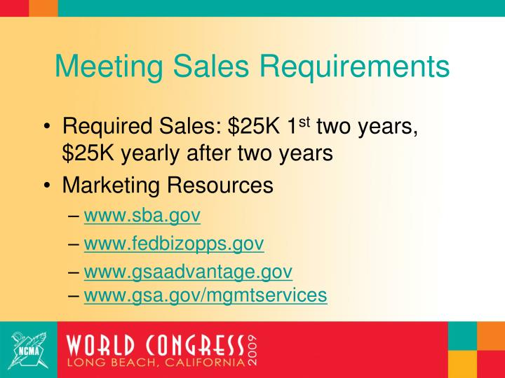 Meeting Sales Requirements