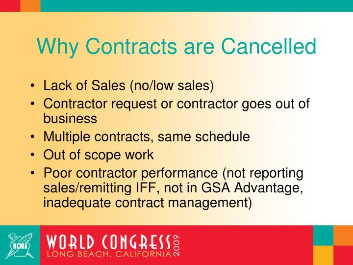 Why Contracts are Cancelled