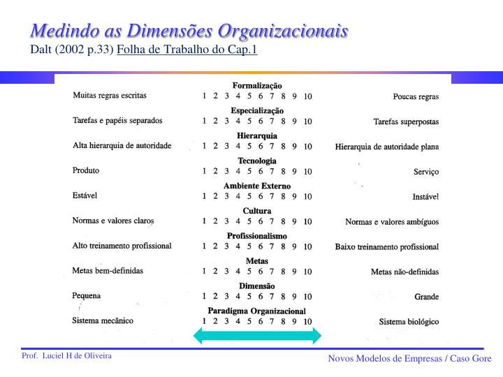 Medindo as Dimensões Organizacionais