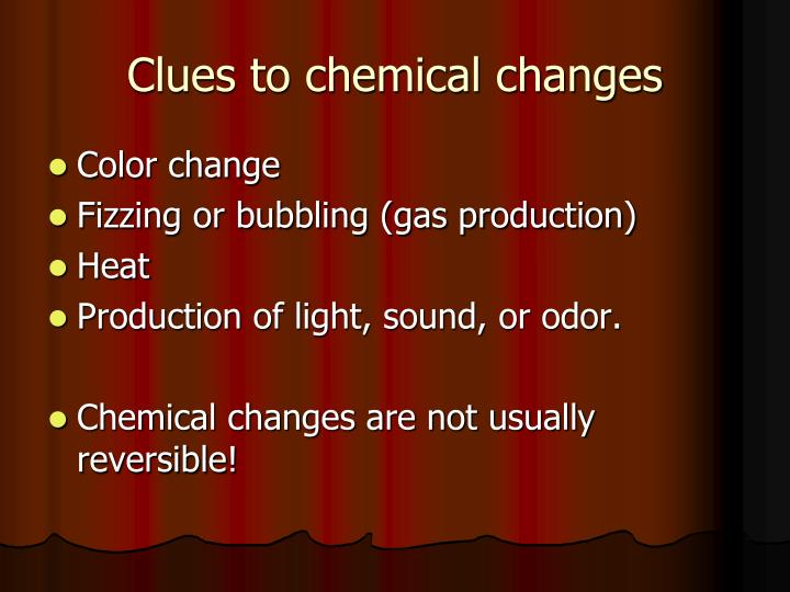 Clues to chemical changes