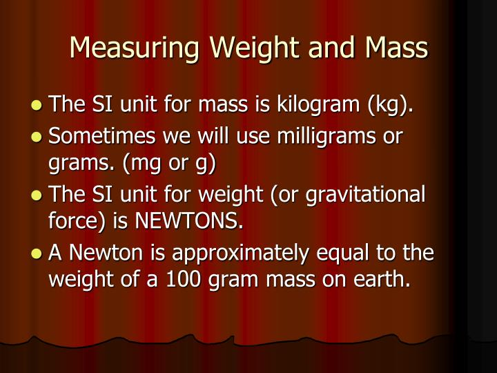 Measuring Weight and Mass
