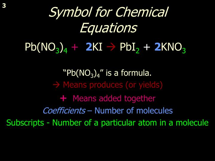 Symbol for chemical equations
