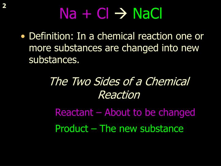 The two sides of a chemical reaction
