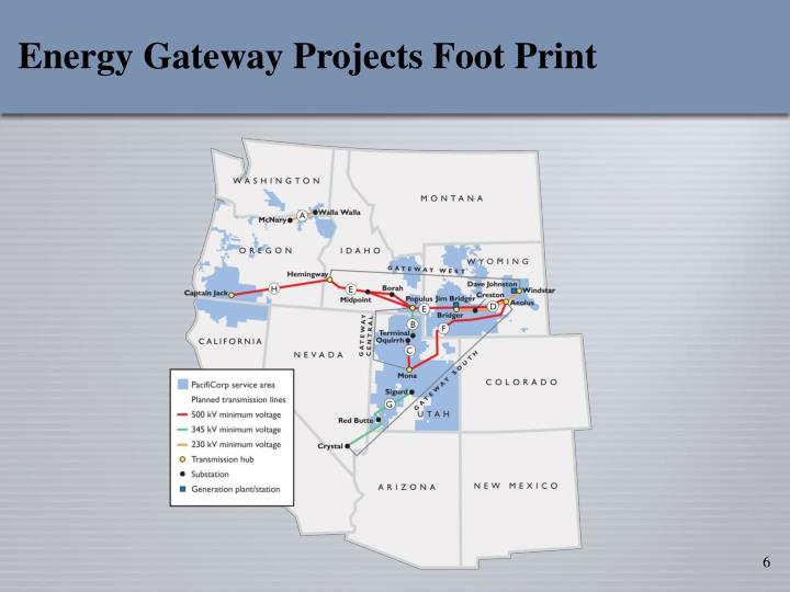 Energy Gateway Projects Foot Print