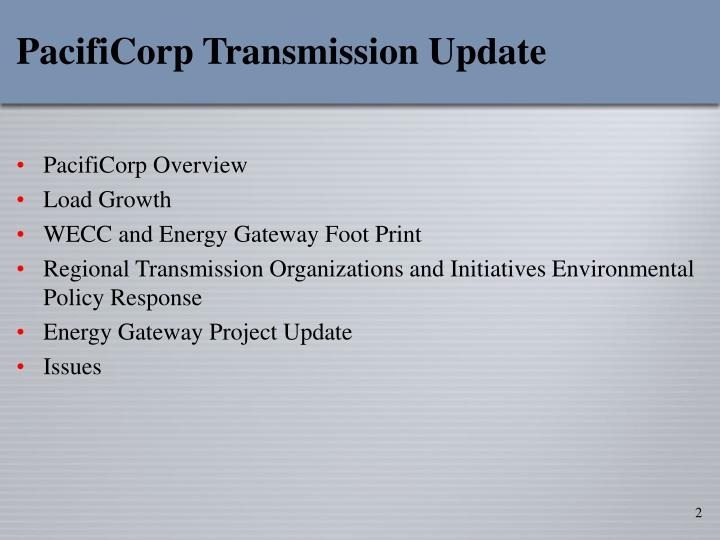 Pacificorp transmission update