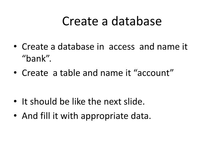 Create a database