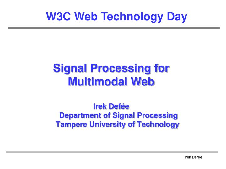Signal Processing for
