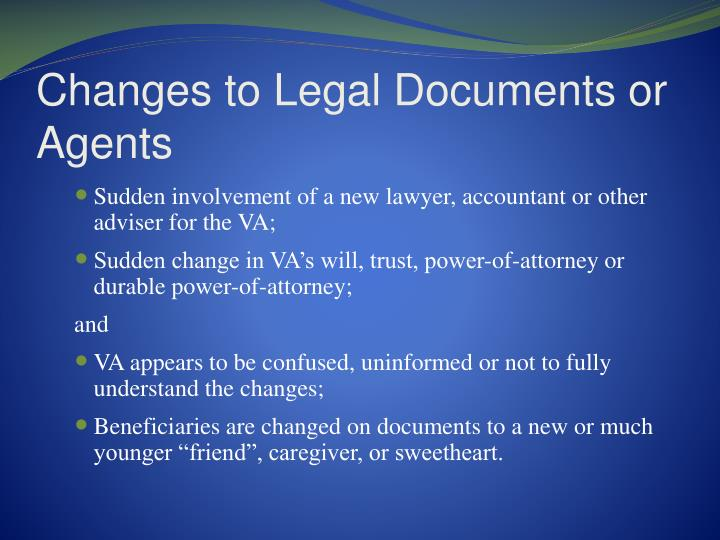 Changes to Legal Documents or Agents