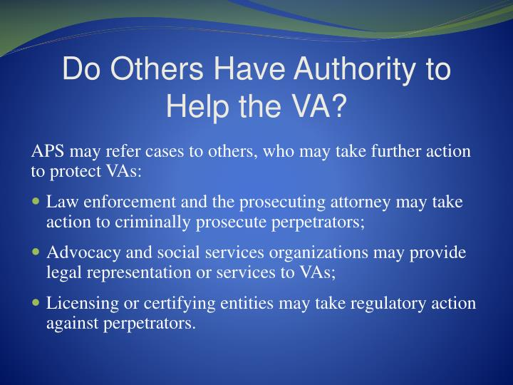 Do Others Have Authority to Help the VA?