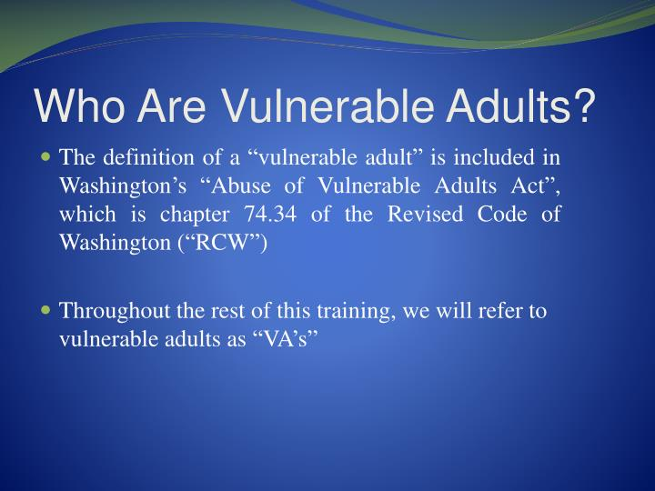 Who Are Vulnerable Adults?