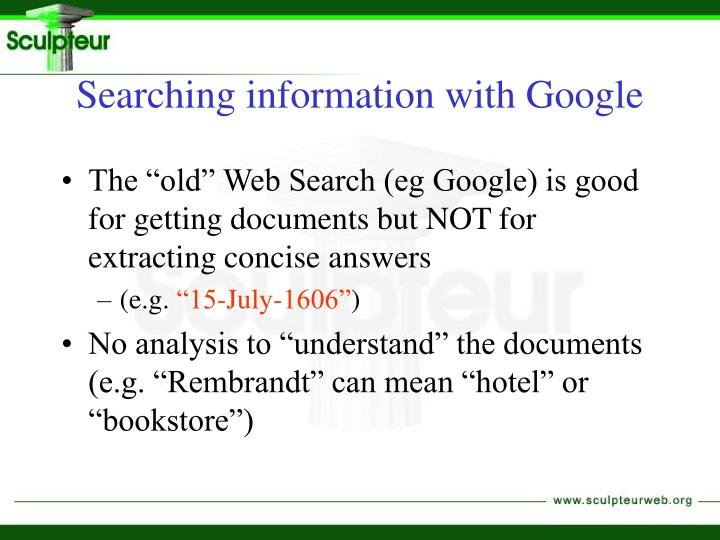 Searching information with Google