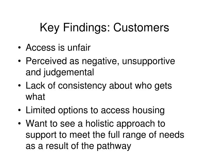 Key Findings: Customers