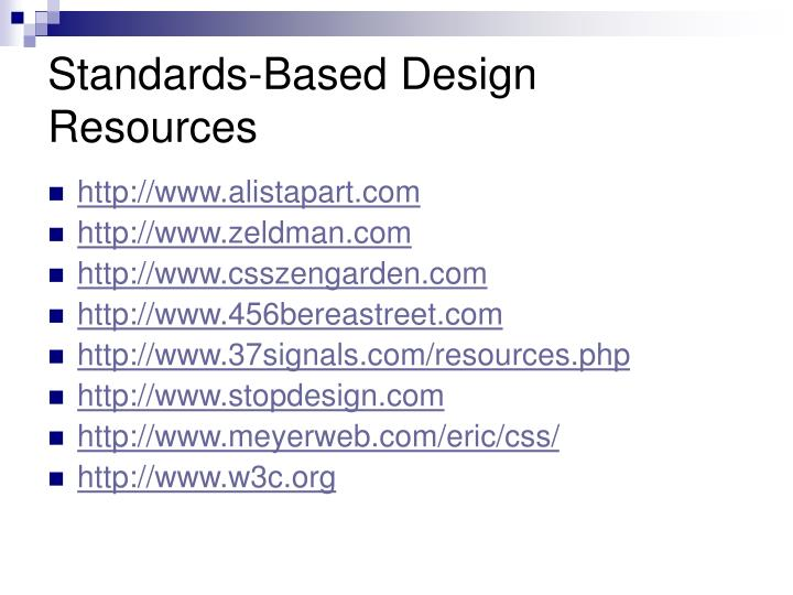 Standards-Based Design Resources