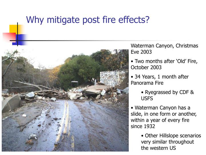 Why mitigate post fire effects?