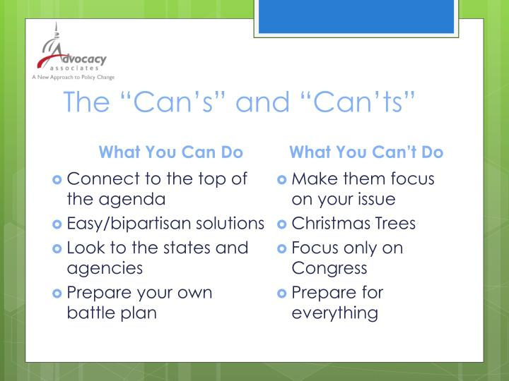 "The ""Can's"" and ""Can'ts"""