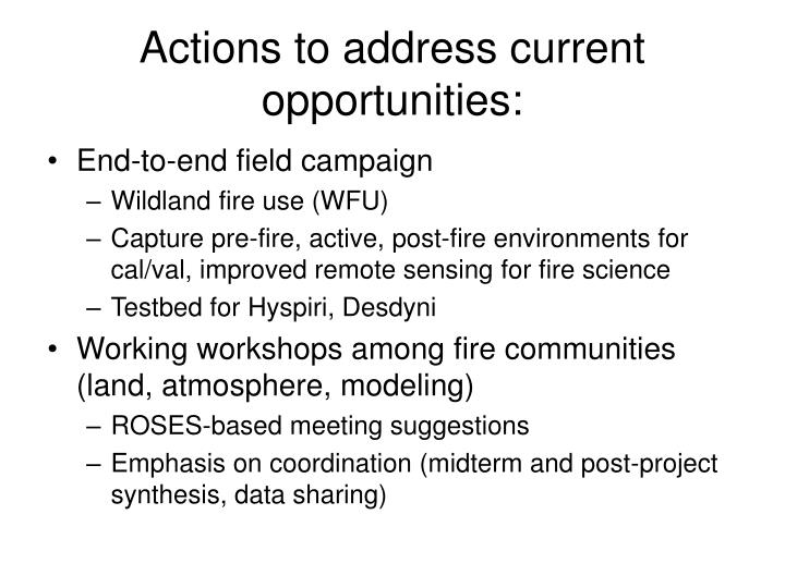 Actions to address current opportunities: