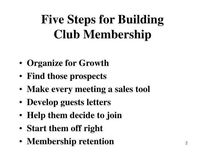 Five steps for building club membership