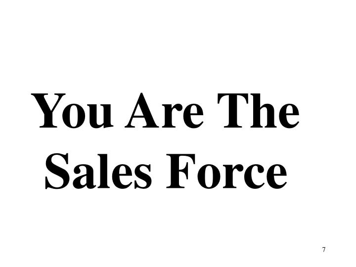 You Are The Sales Force