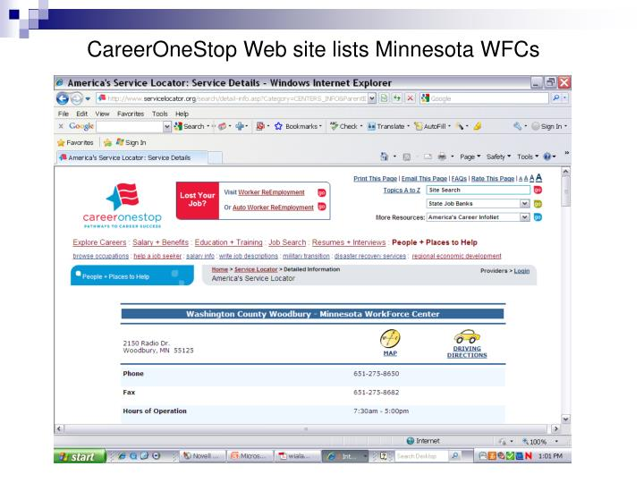 CareerOneStop Web site lists Minnesota WFCs