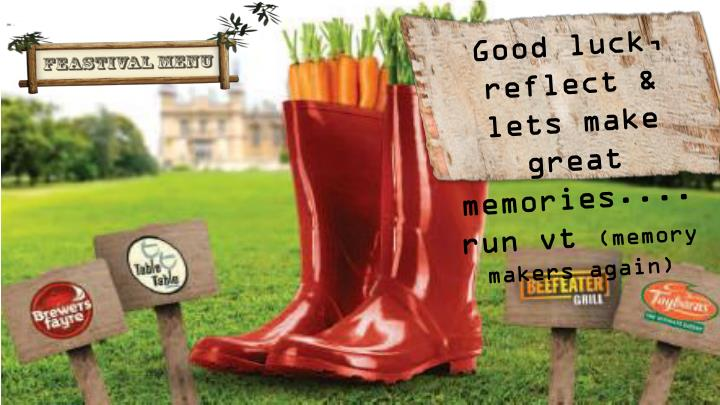 Good luck, reflect & lets make great memories....run vt