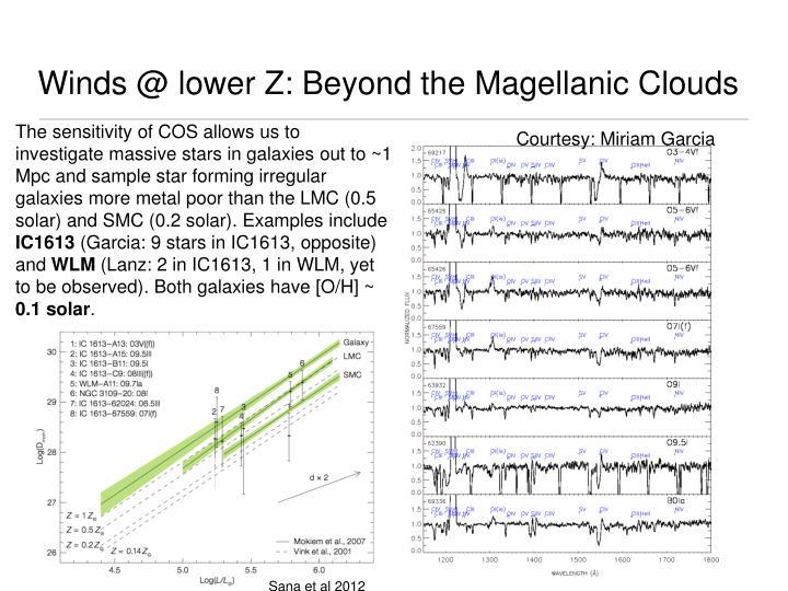 Winds @ lower Z: Beyond the Magellanic Clouds