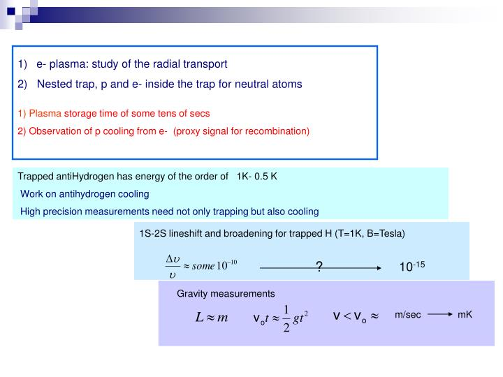 e- plasma: study of the radial transport