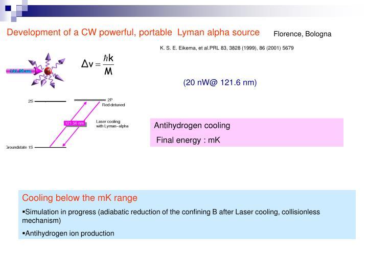 Development of a CW powerful, portable  Lyman alpha source