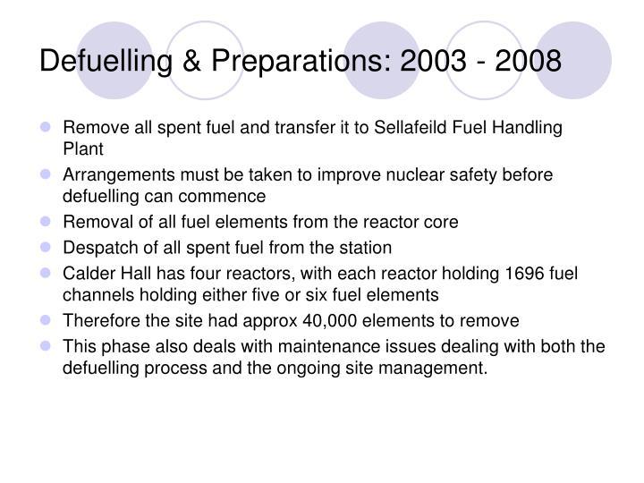 Defuelling & Preparations: 2003 - 2008