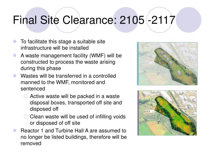 Final Site Clearance: 2105 -2117
