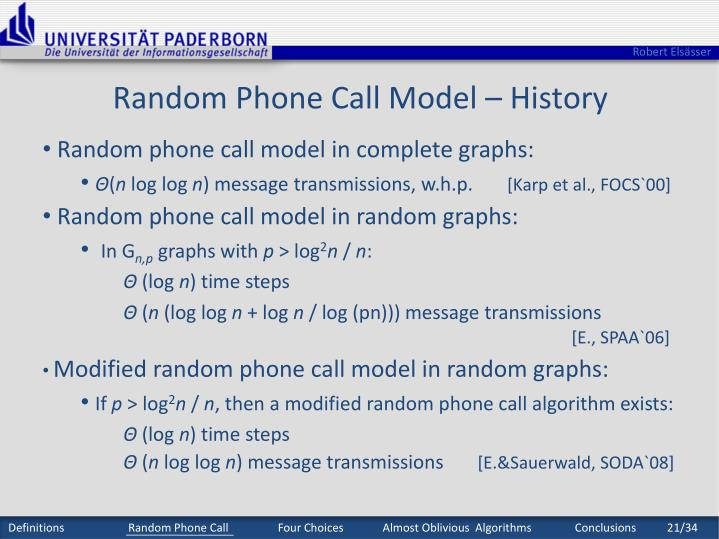 Random Phone Call Model – History