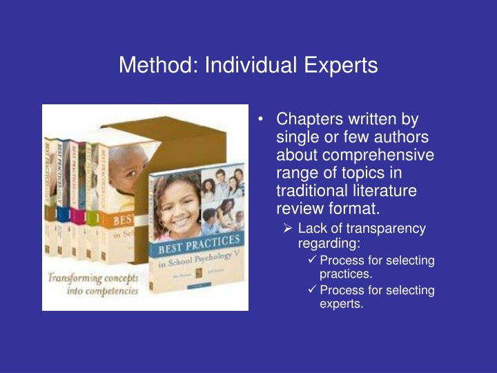 Method: Individual Experts