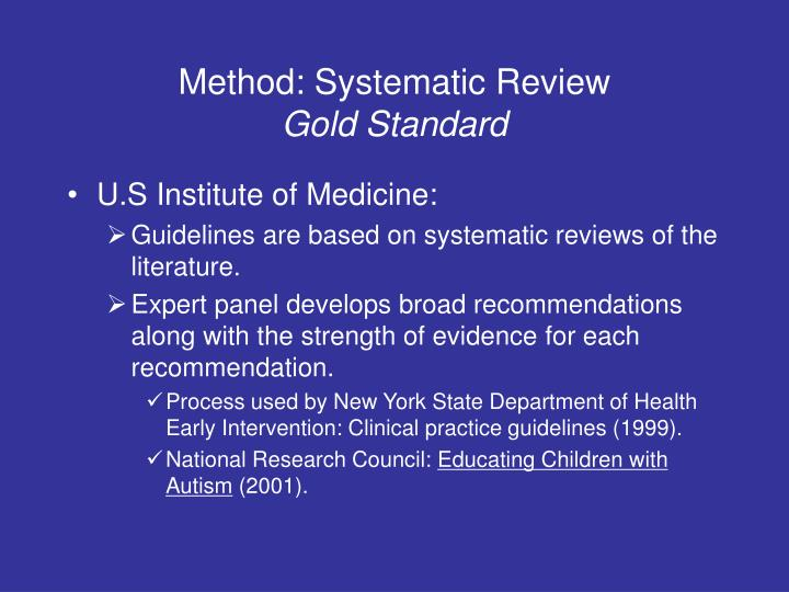 Method: Systematic Review