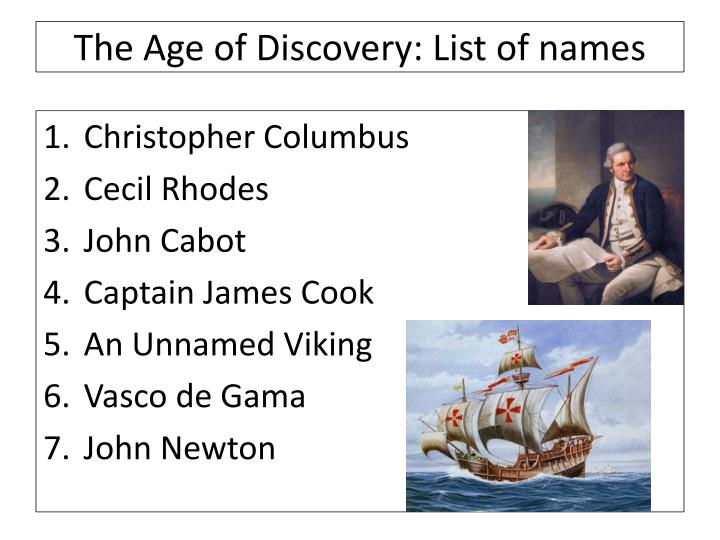 The Age of Discovery: List of names
