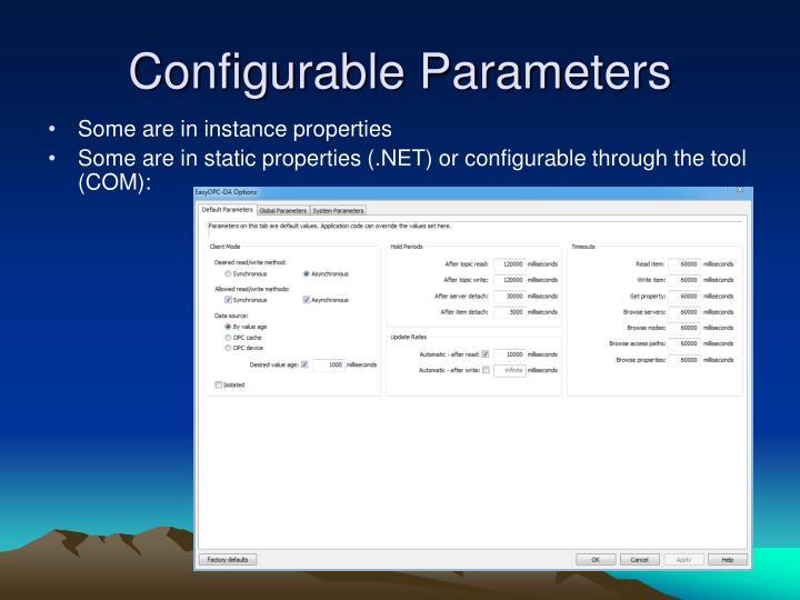Configurable Parameters