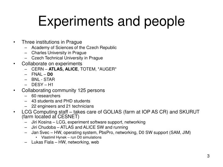 Experiments and people