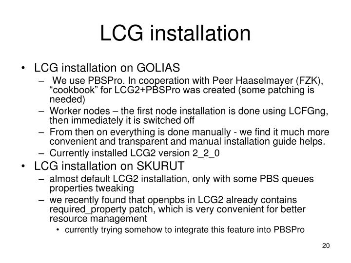 LCG installation