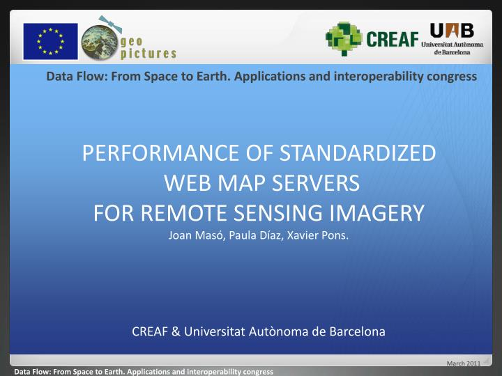 Data Flow: From Space to Earth. Applications and interoperability congress
