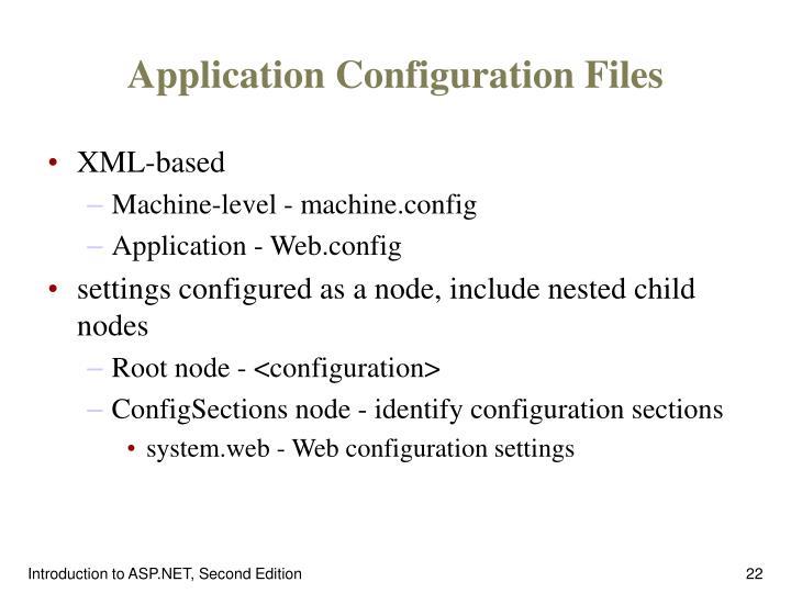 Application Configuration Files