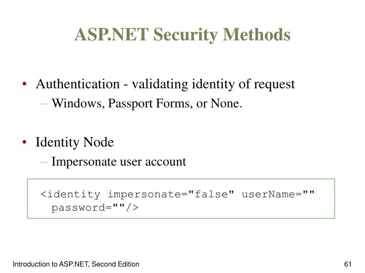 ASP.NET Security Methods