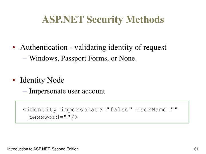 ASP.NET Security Methods
