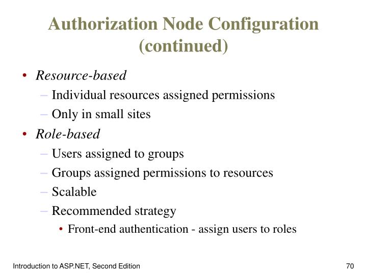 Authorization Node Configuration (continued)