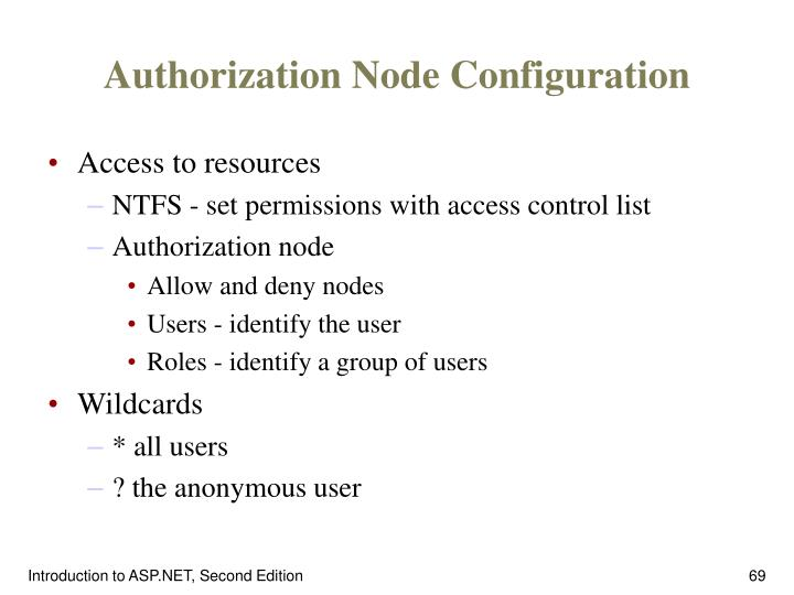 Authorization Node Configuration