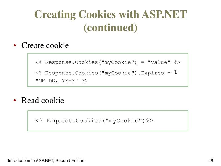 Creating Cookies with ASP.NET (continued)