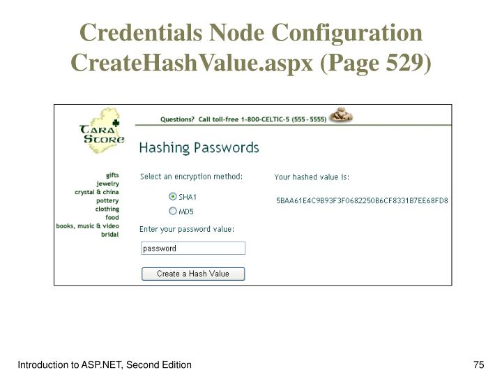 Credentials Node Configuration CreateHashValue.aspx (Page 529)
