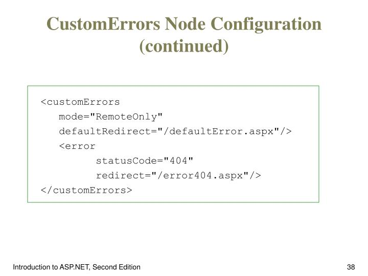 CustomErrors Node Configuration (continued)